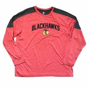 NHL Blackhawks Mens Long Sleeve Red&Grey Shirt -XL